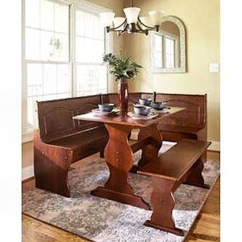 breakfast nook dining set kitchen booth bali corner 3 piece table bench linon chelsea in natural finish corn