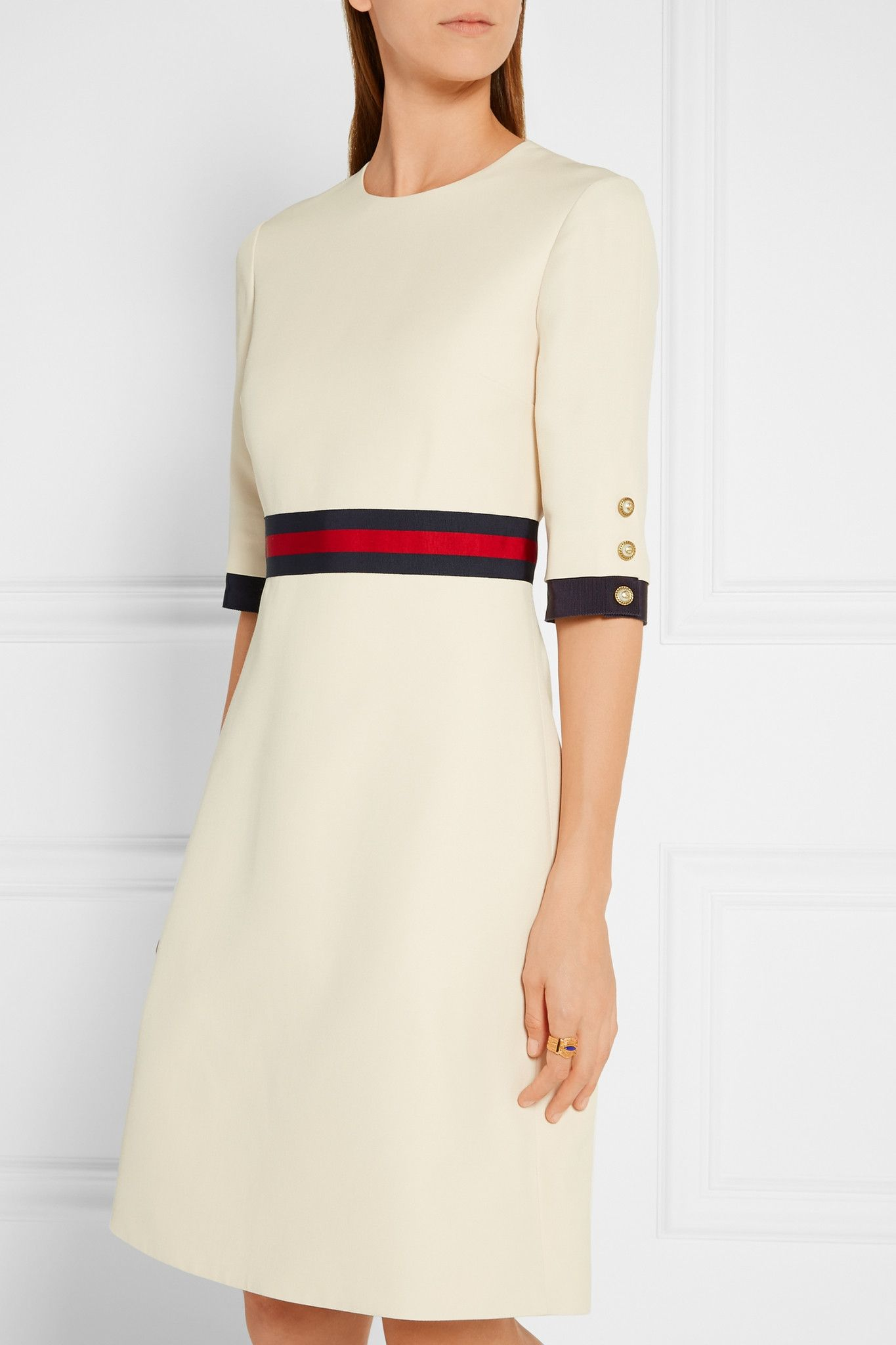 71d66885ef0fc7 Buy Gucci Women's Multicolor Grosgrain-trimmed Wool And Silk-blend Mini  Dress, starting at $2200. Similar products also available. SALE now on!