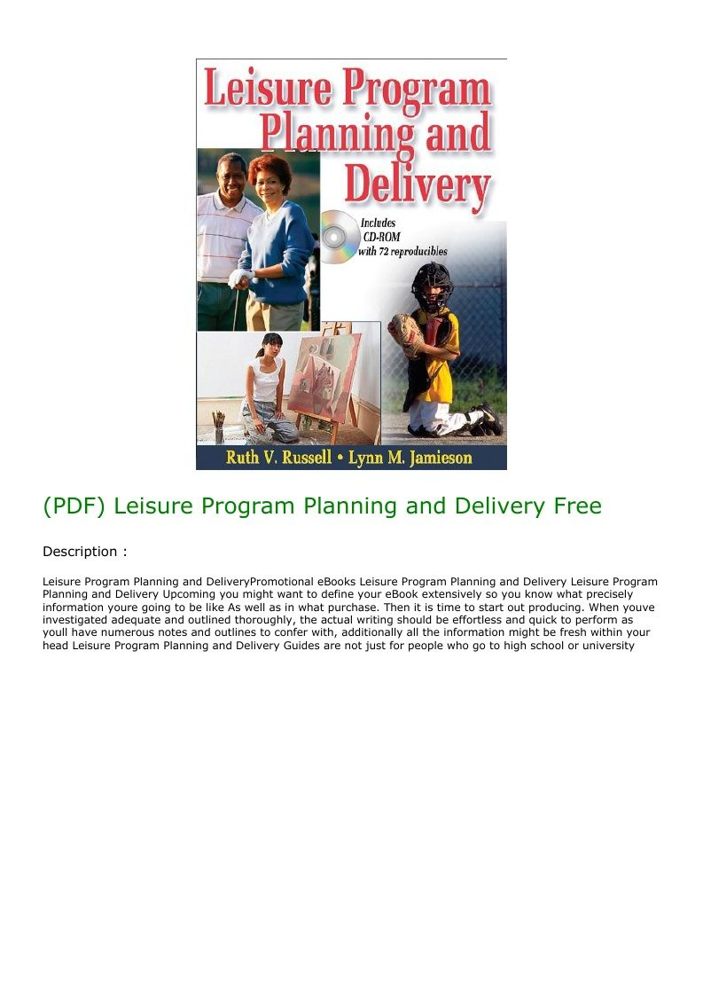 (PDF) Leisure Program Planning and Delivery Free in 2020