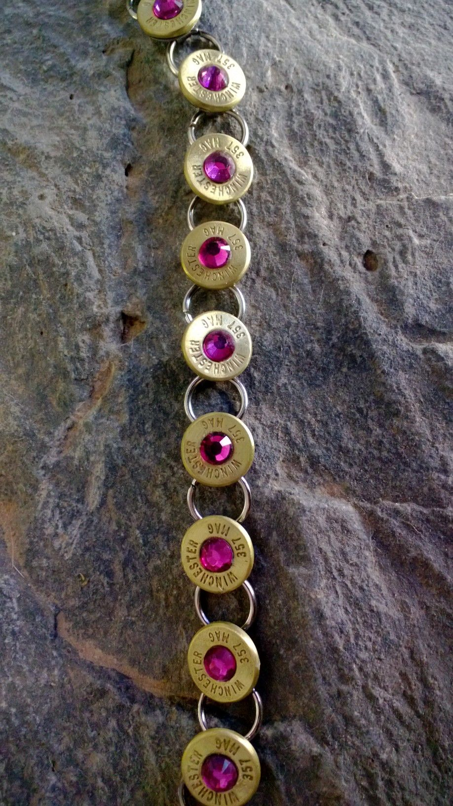 two tone tennis bracelet made out of ammo