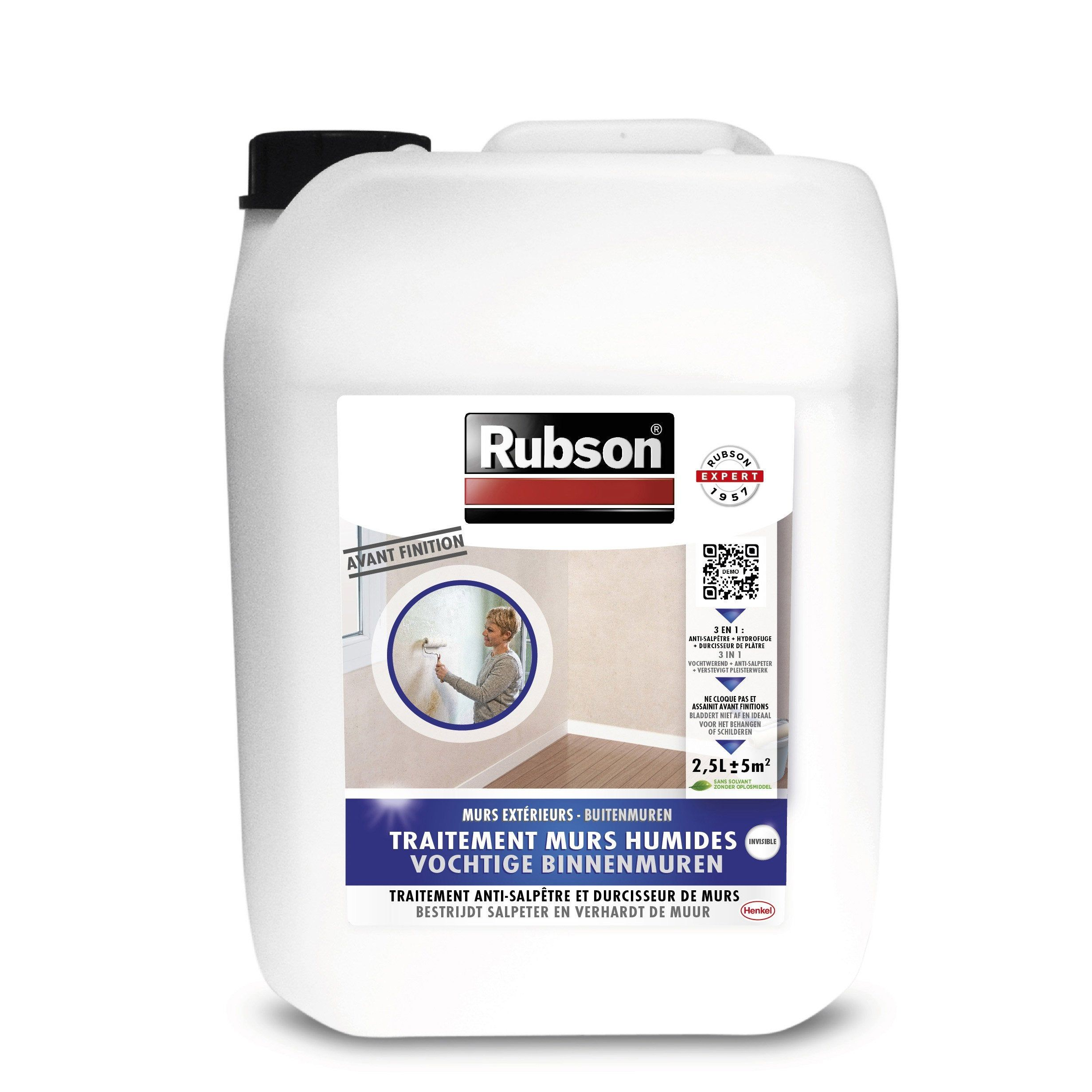 Traitement Antisalpetre Stop Salpetre Rubson Incolore 2 5 L Salpetre Mur Peinture Anti Humidite Et Salpetre