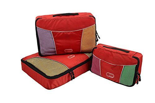 Suitcase Packing Cubes  3 Pc Set Plus 6 Pc Travel Bottle Organizer Bags by Packer Hacker Red *** Visit the image link more details. Note:It is Affiliate Link to Amazon.