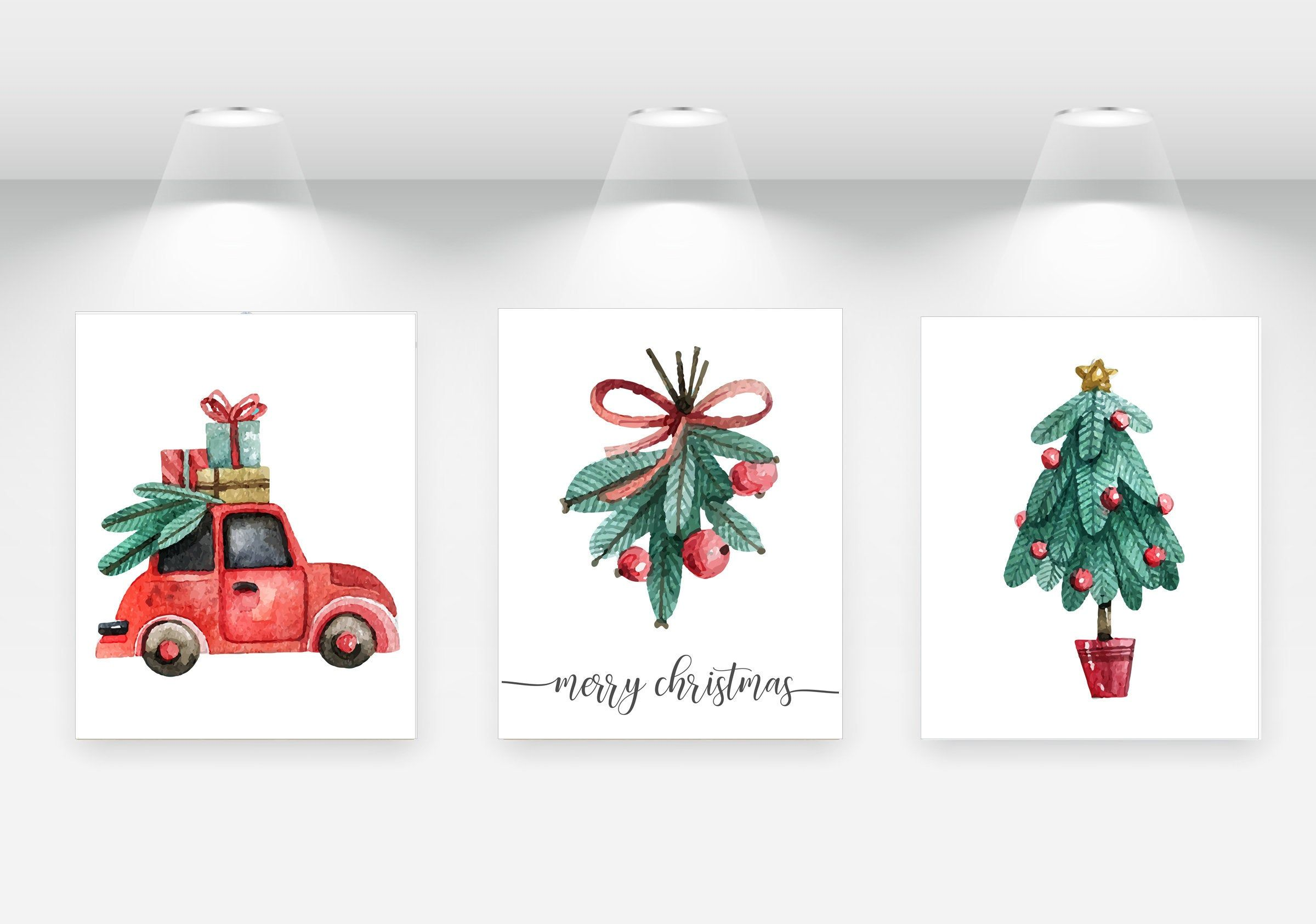 Watercolor Christmas Prints Digital Download Set Of 3 Christmas Wall Art Christmas Printable Wall Christmas Wall Art Printable Art Prints Printable Wall Art