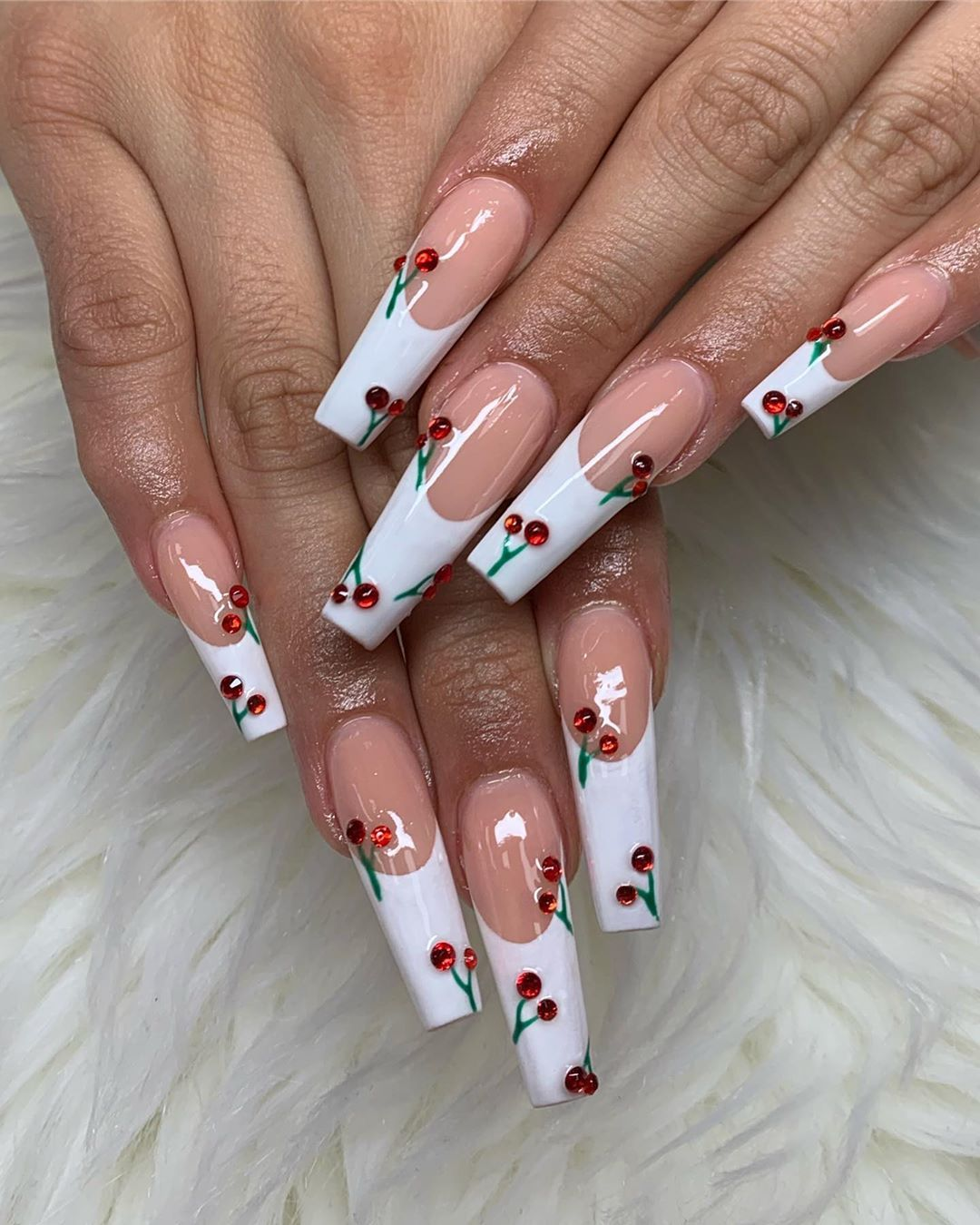 La Style Nails Spa On Instagram Customer S Request Nails Nail Nailsofinstagram Valentinesnails Naildesi In 2020 Cherry Nails Long Acrylic Nails Acrylic Nails