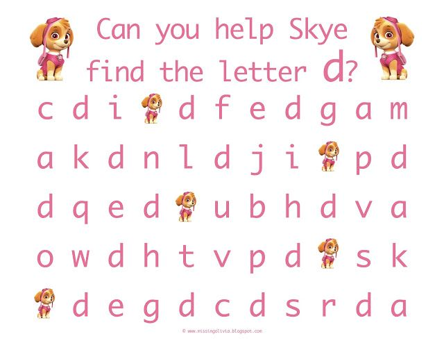 letter recognition with the lowercase letter d with skye from paw patrol life as a moore. Black Bedroom Furniture Sets. Home Design Ideas