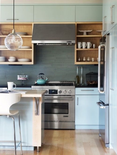 love the back splash in sea green or yellow | My Style | Pinterest