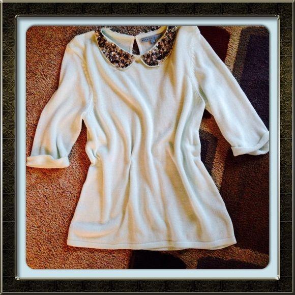 ANTONIO MELANI SWEATER! Beautiful mint baby soft sweater with jeweled collar and keyhole button back! ANTONIO MELANI Sweaters