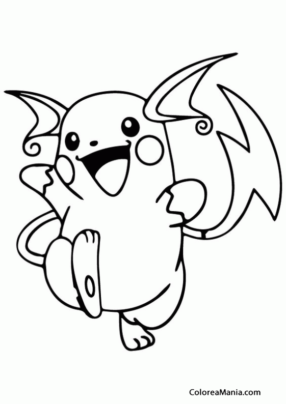 Colorear Raichu contento (Pokemon), dibujo para colorear ... | Para ...