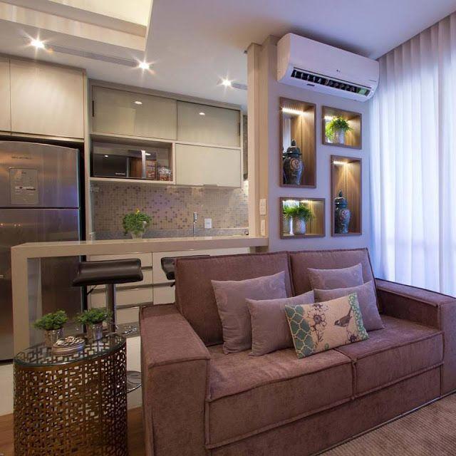 Salas e cozinha integradas no apartamento pequeno e for Modelos de apartamentos pequenos