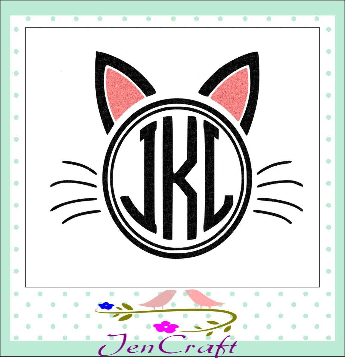 Cat Ears Monogram Frame svg, Halloween Monogram Frame