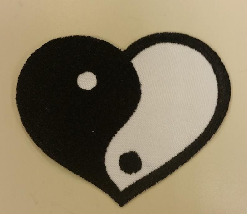 Yin Yang Embroidered Patch With Iron On Backing White Black Heart Yin Yang Patch In 2021 Indie Room Decor Funky Rugs Cute Room Decor