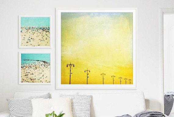 Boardwalk Lights Large Scale Print // POP of Canary Yellow | Large ...