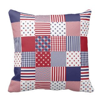 USA Americana Patchwork Red White & Blue Quilt Throw Pillows