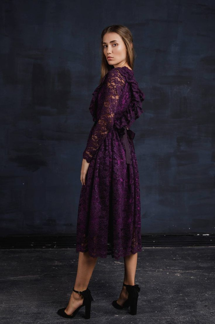 Tanya Violet Purple Modest Prom Dress with Long Sleeves in