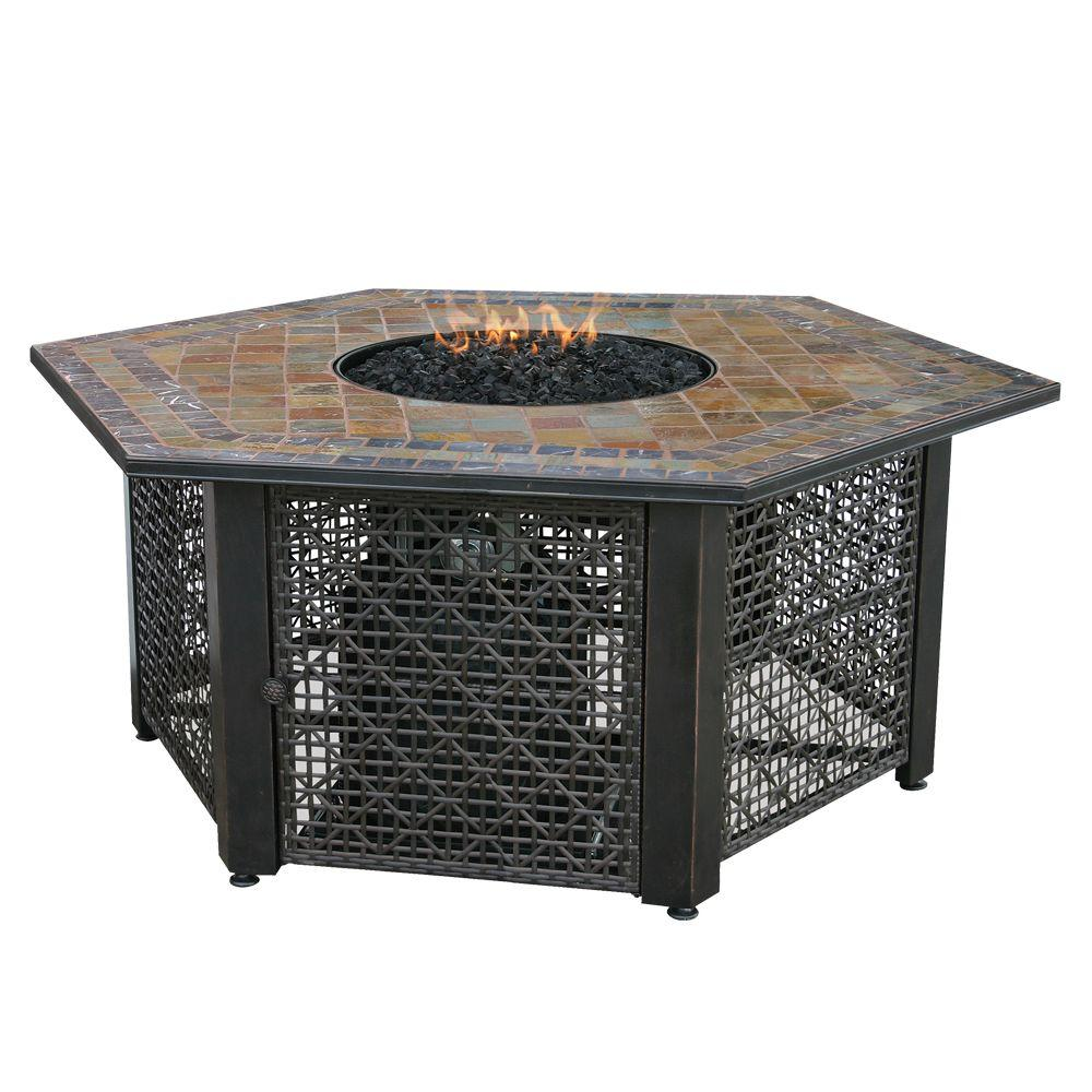Uniflame 55 In W Bronze Frame Slate Mosaic Tile Hexagon Mantle Lp Gas Fire Pit With Electronic Ignition And Black Fire Glass Gad1374sp With Images Gas Fire Pit Table Gas Firepit Outdoor