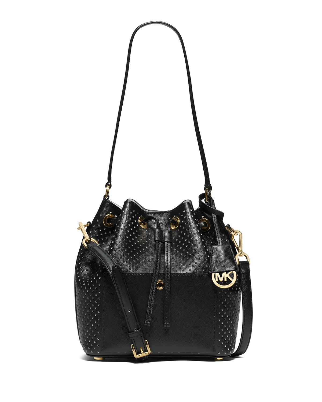 20250a86937080 MICHAEL Michael Kors Greenwich Medium Bucket Bag, Black/White ...