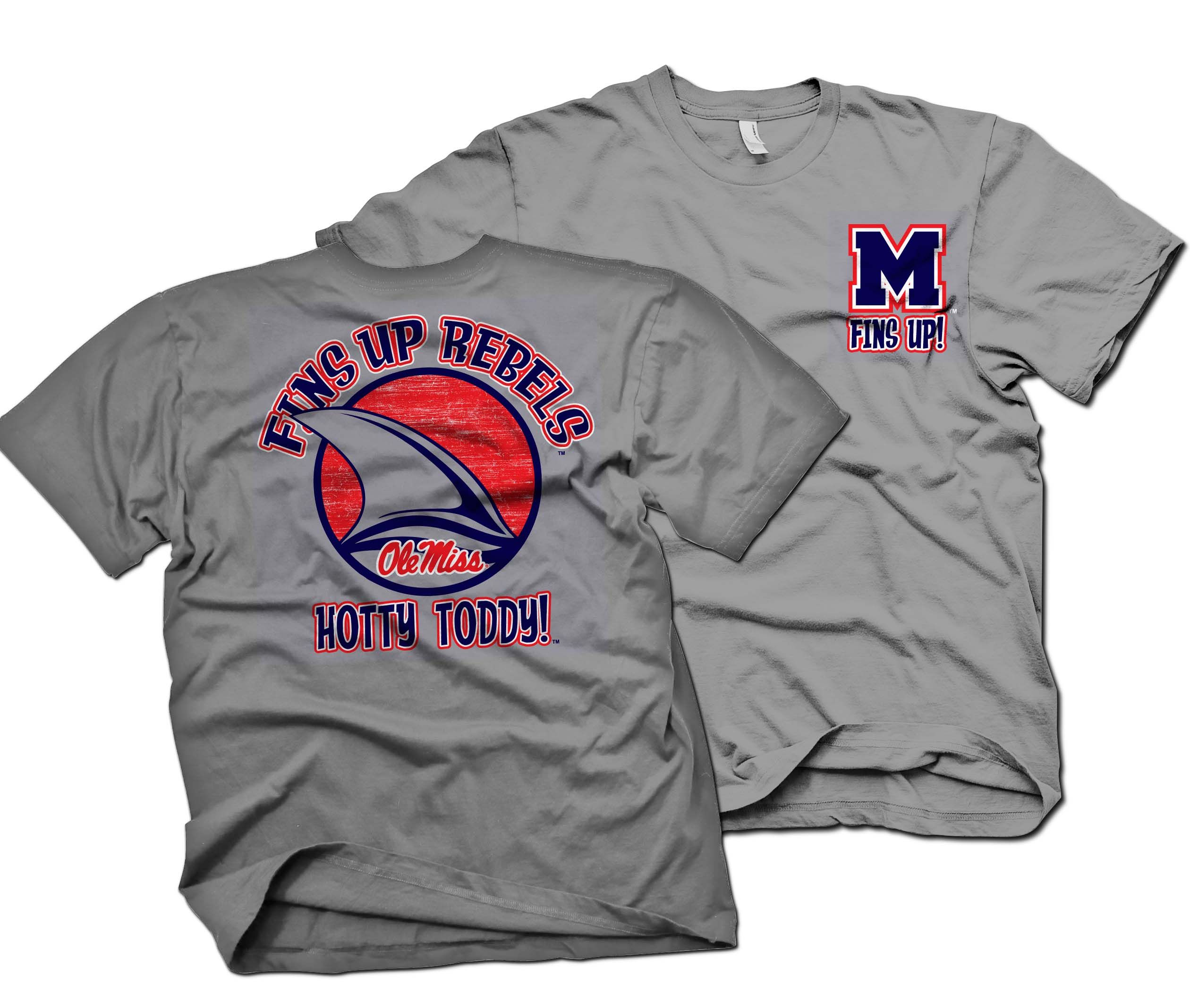 Fins Up Gray From Oxford Printwear Ole Miss Hotty Toddy Mens Tops