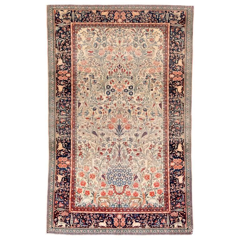 Antique Rug, Persian Mohtasham Kashan, Circa 1900 Modern