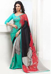 Black, Teal Green and Grey Faux Satin Georgette Saree with Blouse
