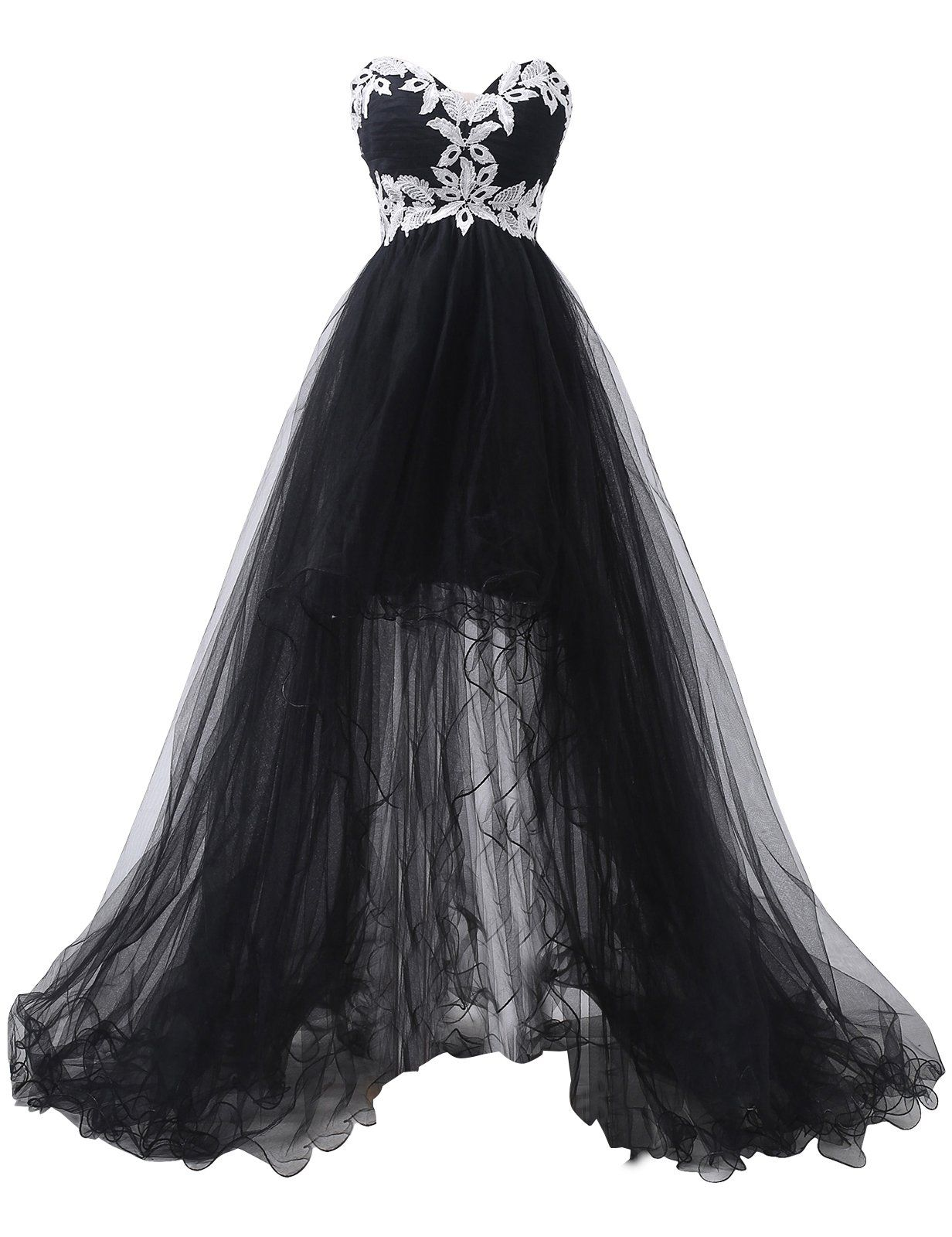 New Black Lace Wedding Dresses Hi-Lo Bridal Ball Gown Prom Party Evening Dress