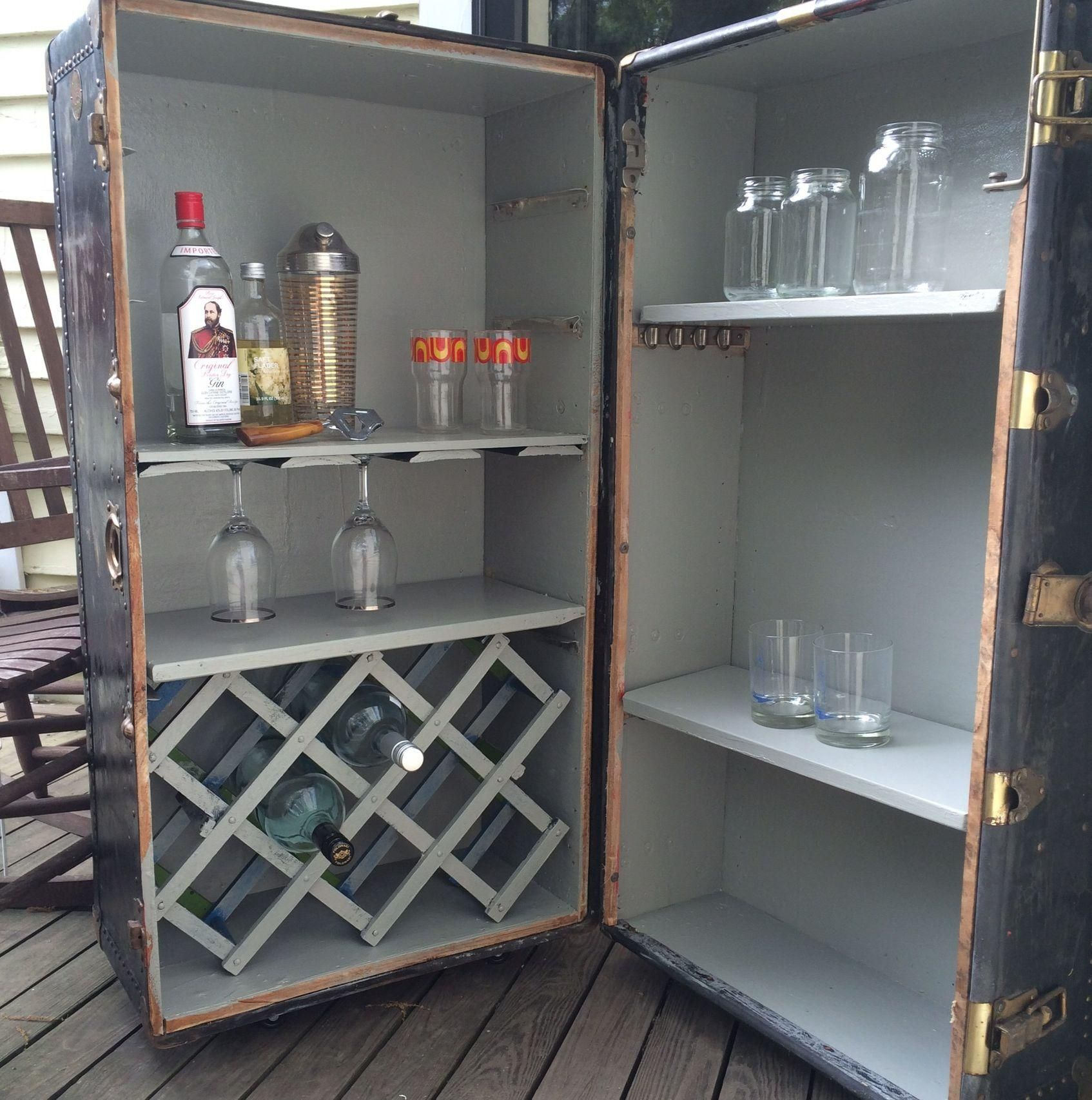 old steamer trunk into a bar - Google Search   Craft Ideas ...
