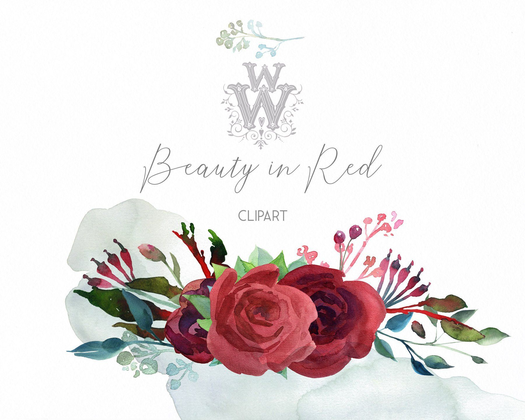 Watercolor Red Flower Clipart Pink Peony Floral Wedding Clip Art