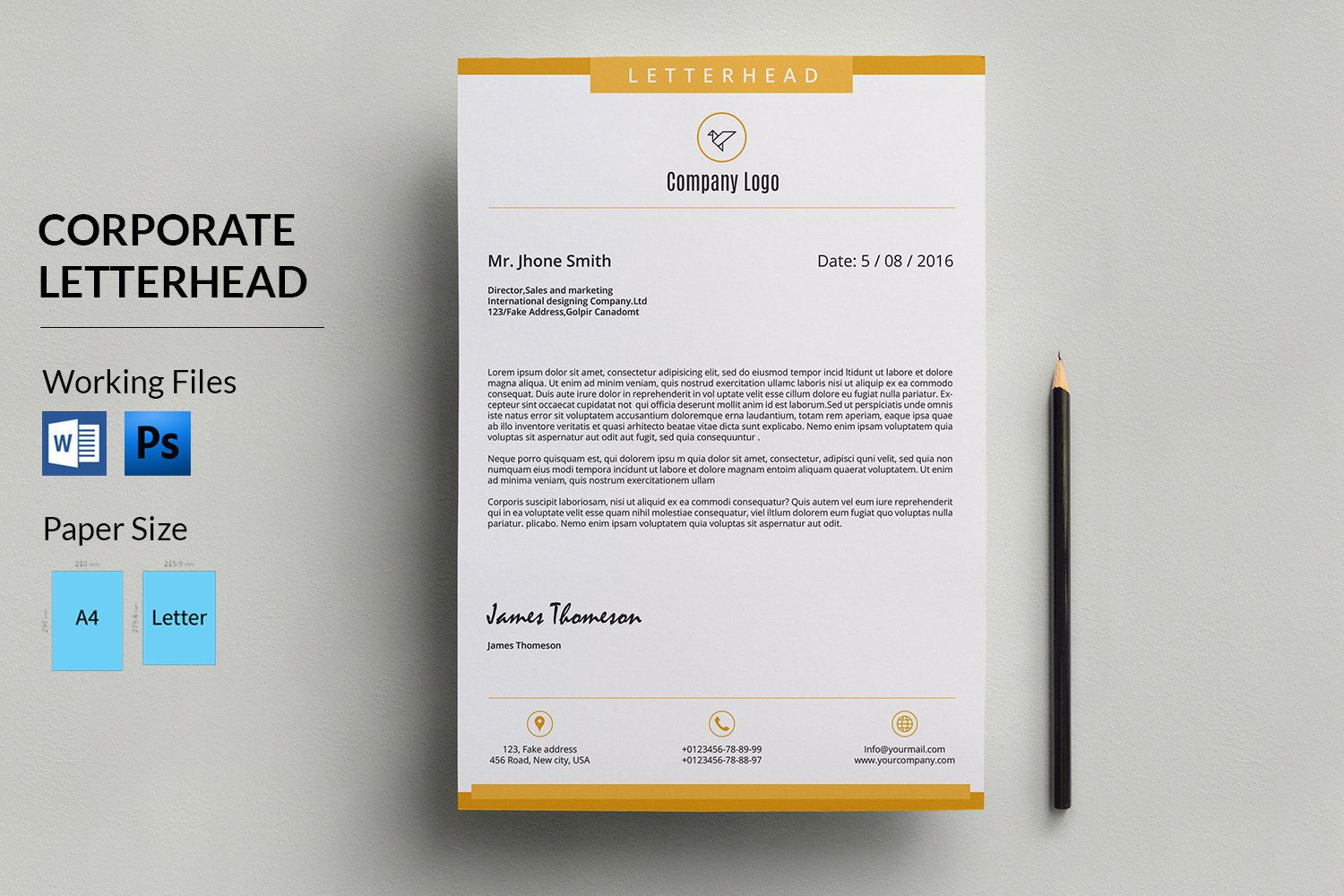 Corporate letterhead template business letterhead company corporate letterhead template business letterhead company letterhead printable photoshop ms word template instant download v02 spiritdancerdesigns Gallery
