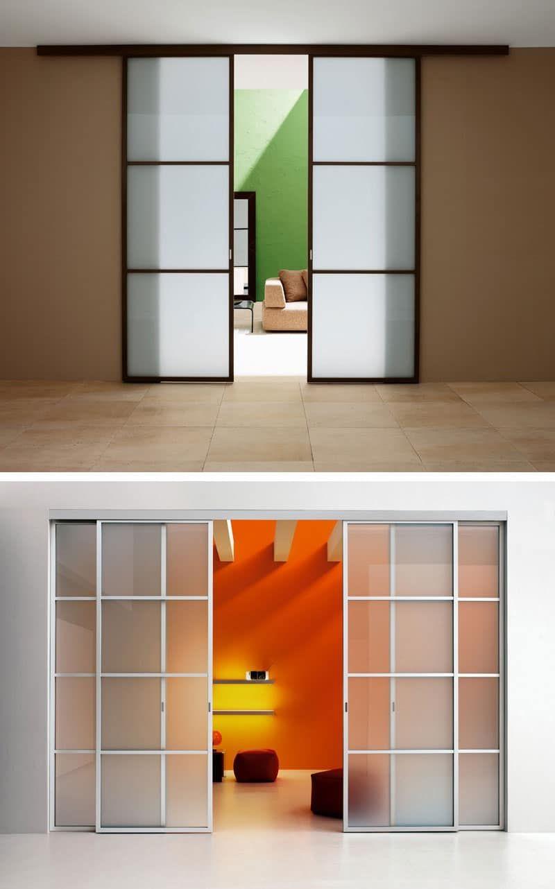 Parete Divisoria Con Porta Scorrevole porta scorrevole con binario, ante in vetro colorato | porte