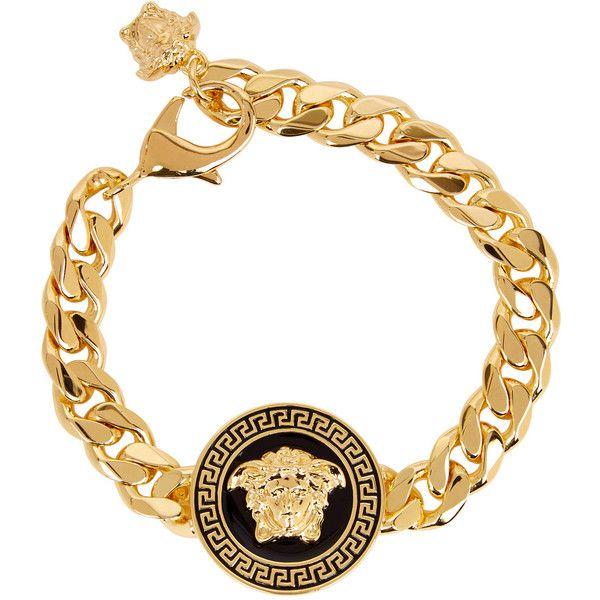 943d86254d07 Versace Gold Tone Medusa Bracelet ( 450) ❤ liked on Polyvore featuring men s  fashion