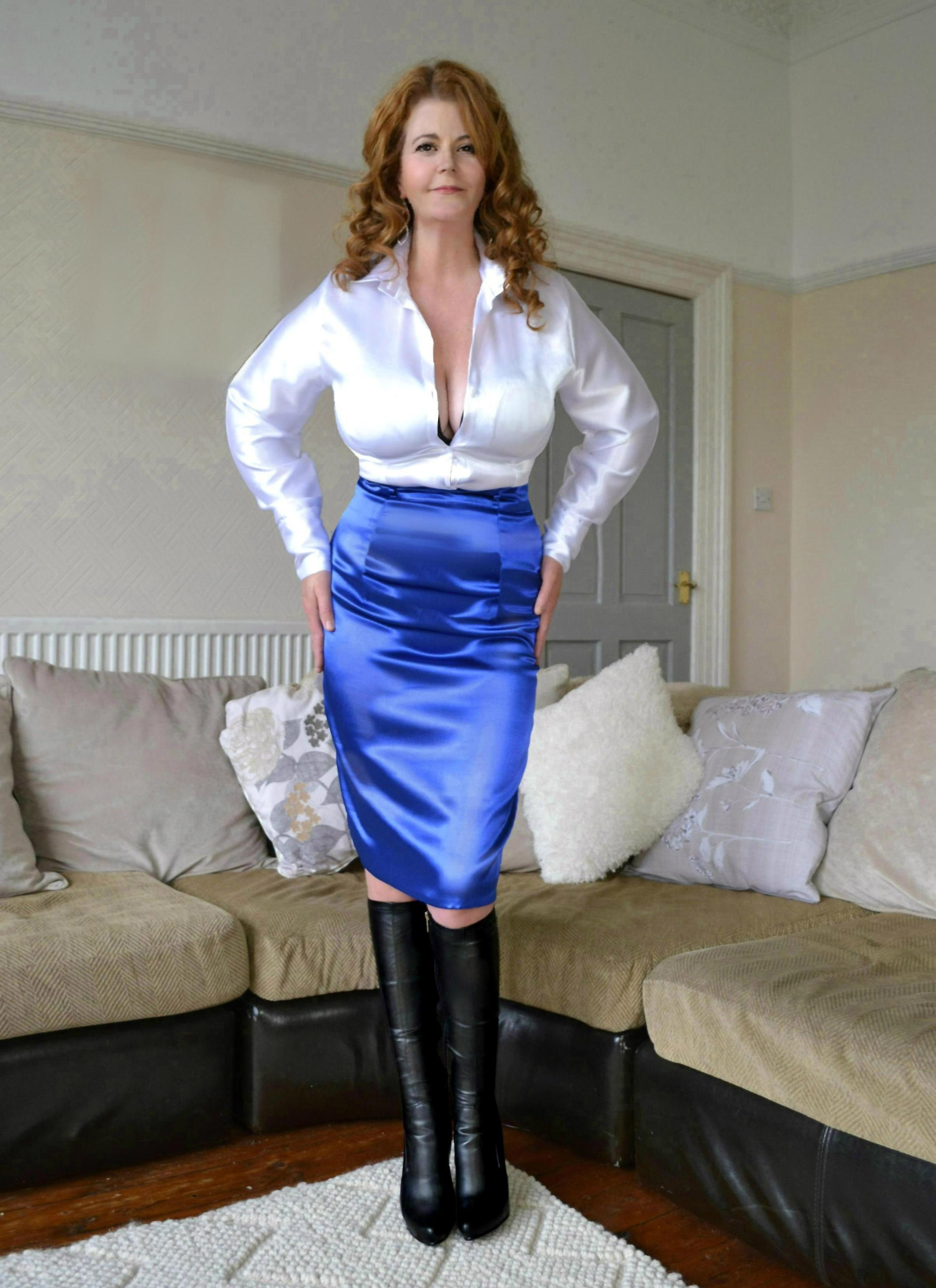 white satin blouse blue satin skirt black leather high
