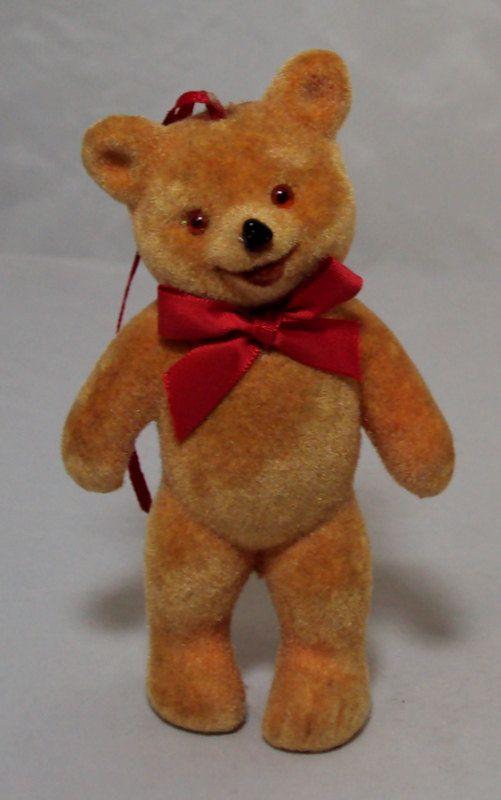 Flocked Standing Teddy Bear Ornament Germany Deko