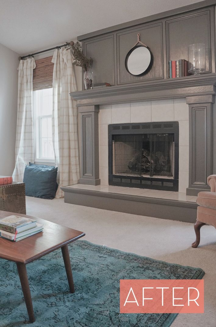 Before And After Oak Veneer Fireplace Gets Makeover Classic Craftsman