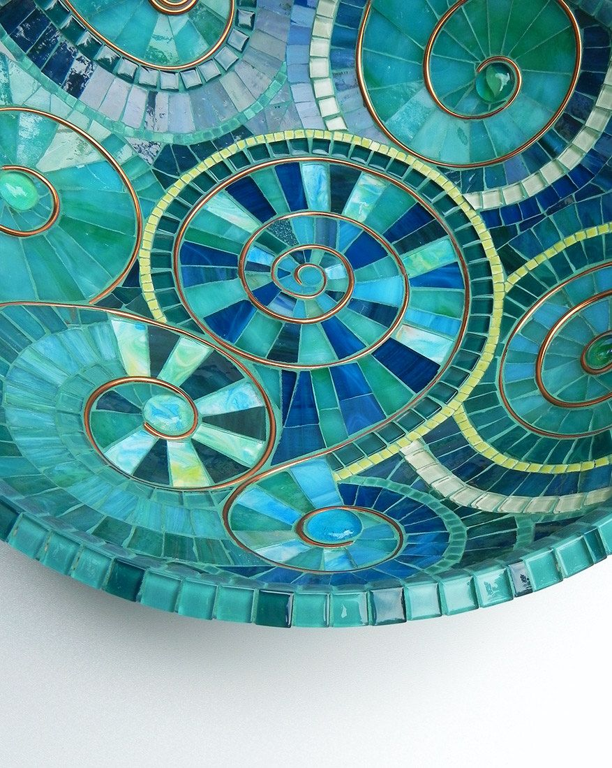 Mosaic Art -turquoise Bowl Dish Accented With