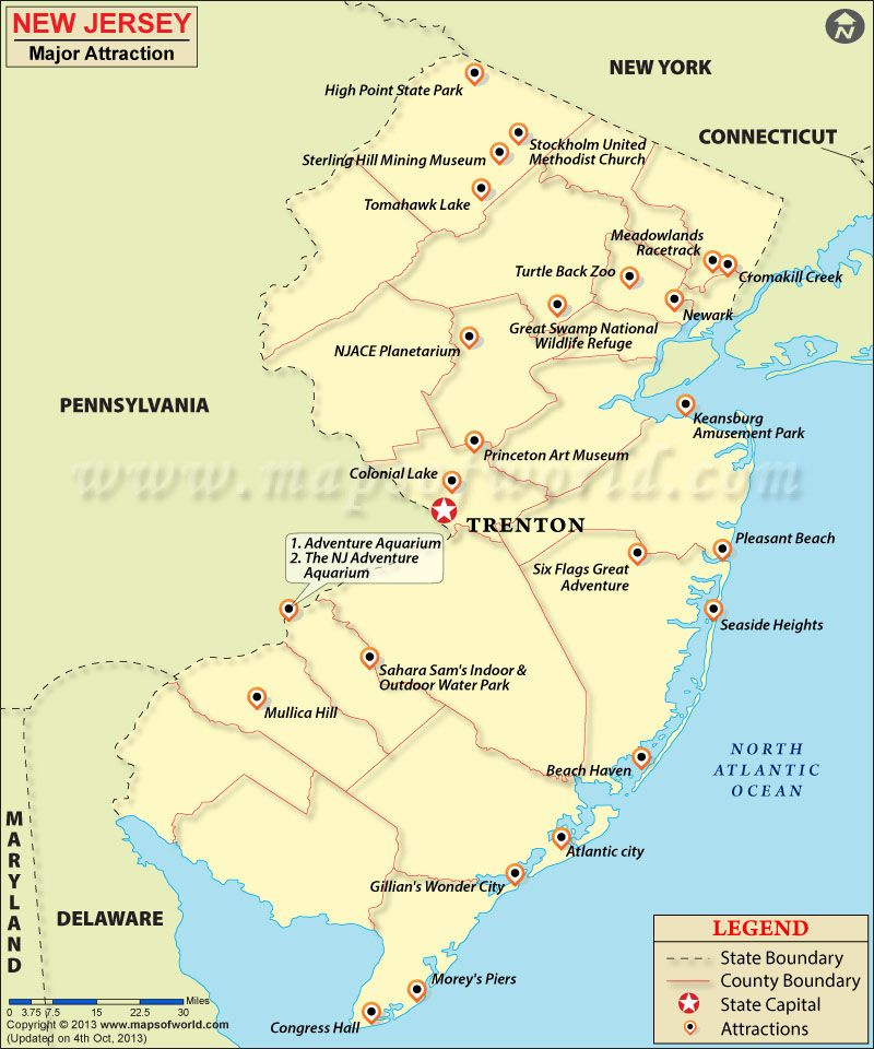 New Jersey Travel Attractions Map New Jersey