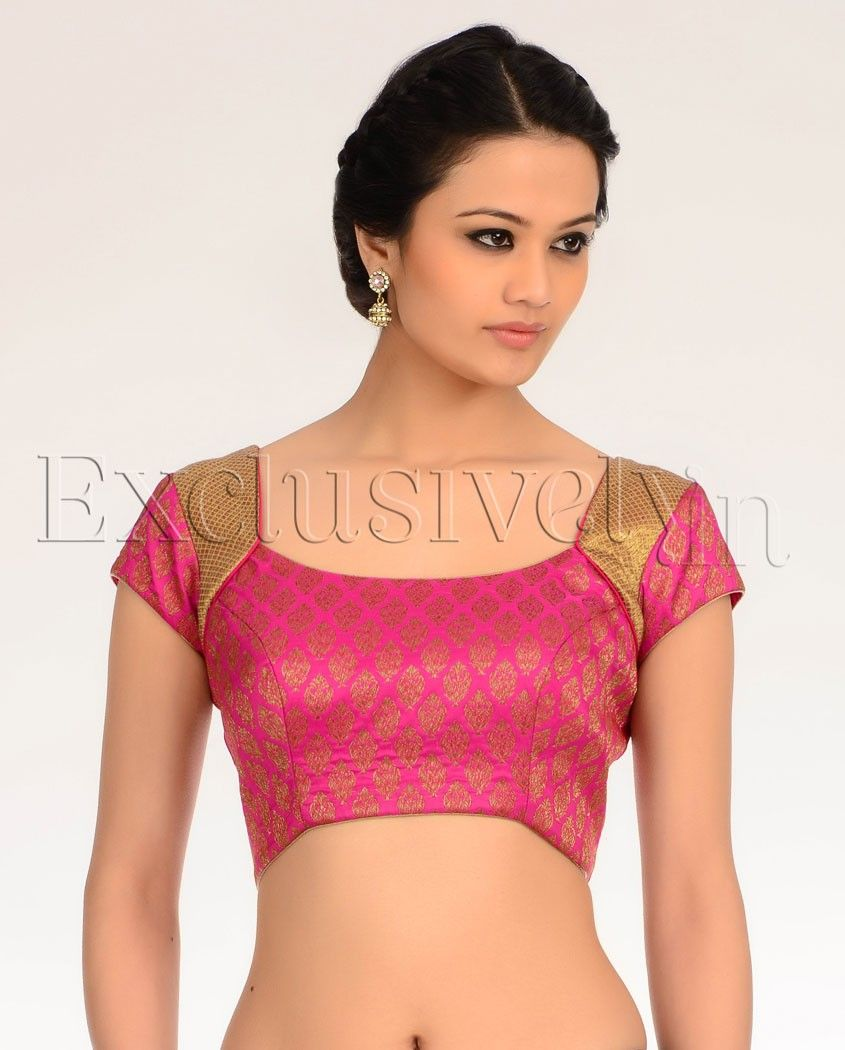 Hot Pink Gold Brocade Blouse - Exclusively In