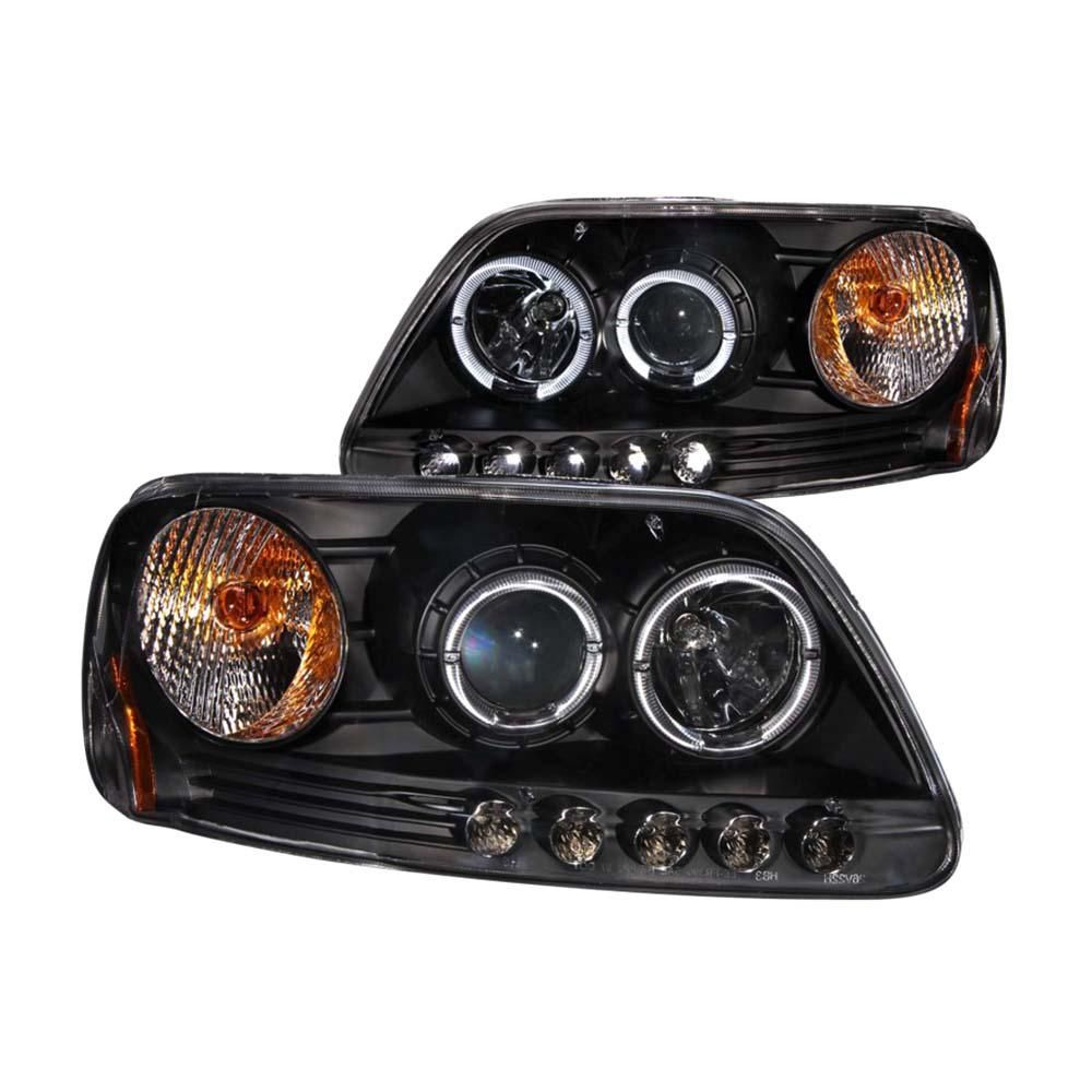 1997 5 2003 Ford F 150 Projector Headlights W Halo And Led Black 1pc Projector Headlights Ford Expedition Headlight Bulbs
