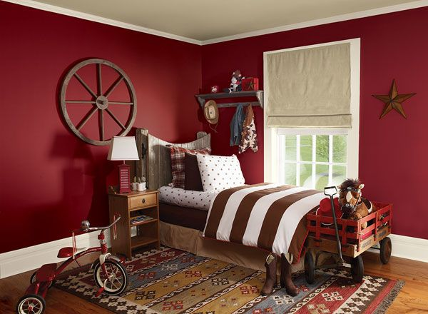 Boy's bedroom in red color scheme pomegranate AF-295, mayonnaise OC-85,