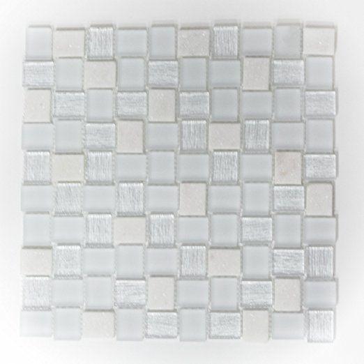 Piastrelle Mosaico Vetro Mosaico Bagno Mosaico Piastrelle Bianco Mix Vetro  Rettangolo 8 Mm Nuovo # 464