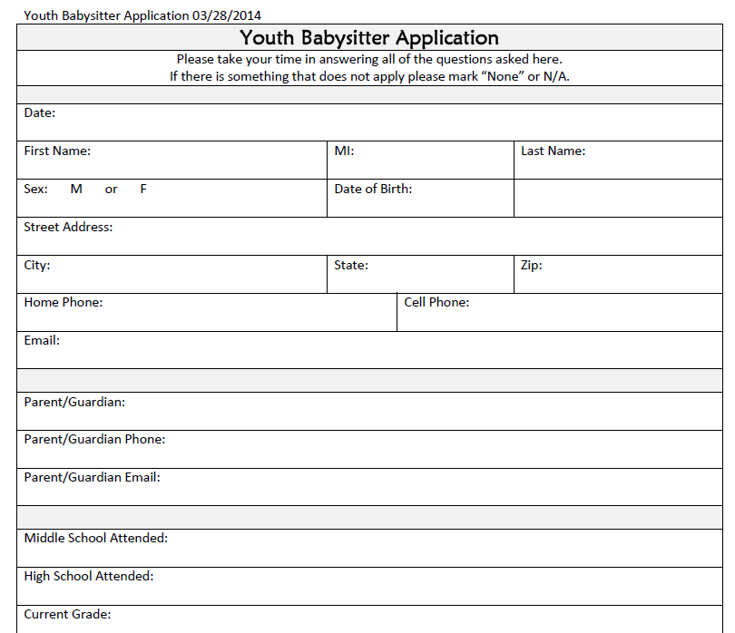 Babysitter Safety Youth Babysitter Application and