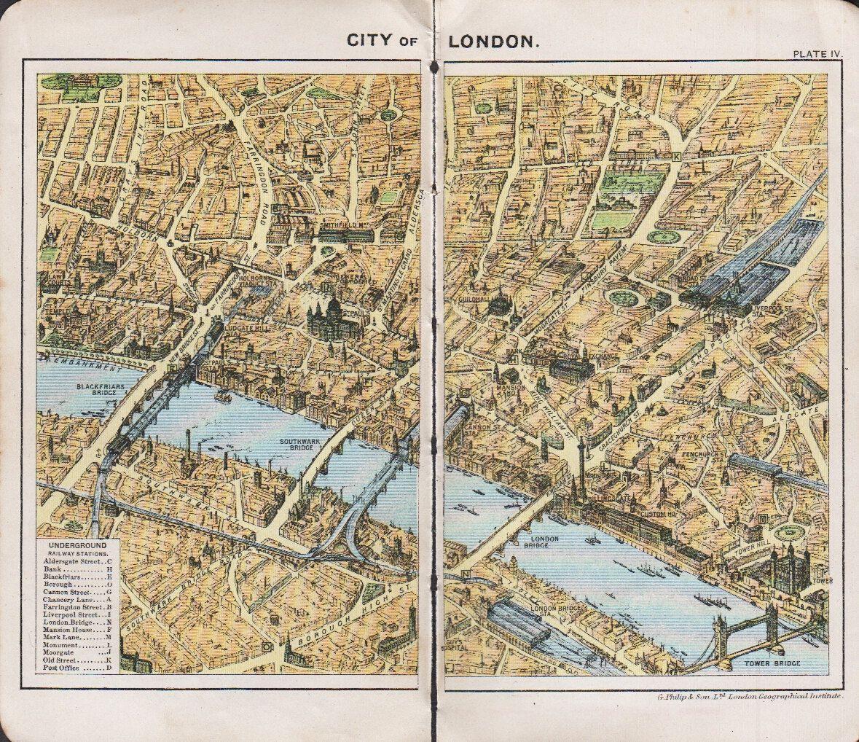 1928 city of london map vintage london street map london places of interest london guide map decor 1895 via etsy