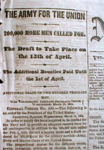 1864 Civil War Display Newspaper Abraham Lincoln Calls for 200 000 More Troops | eBay