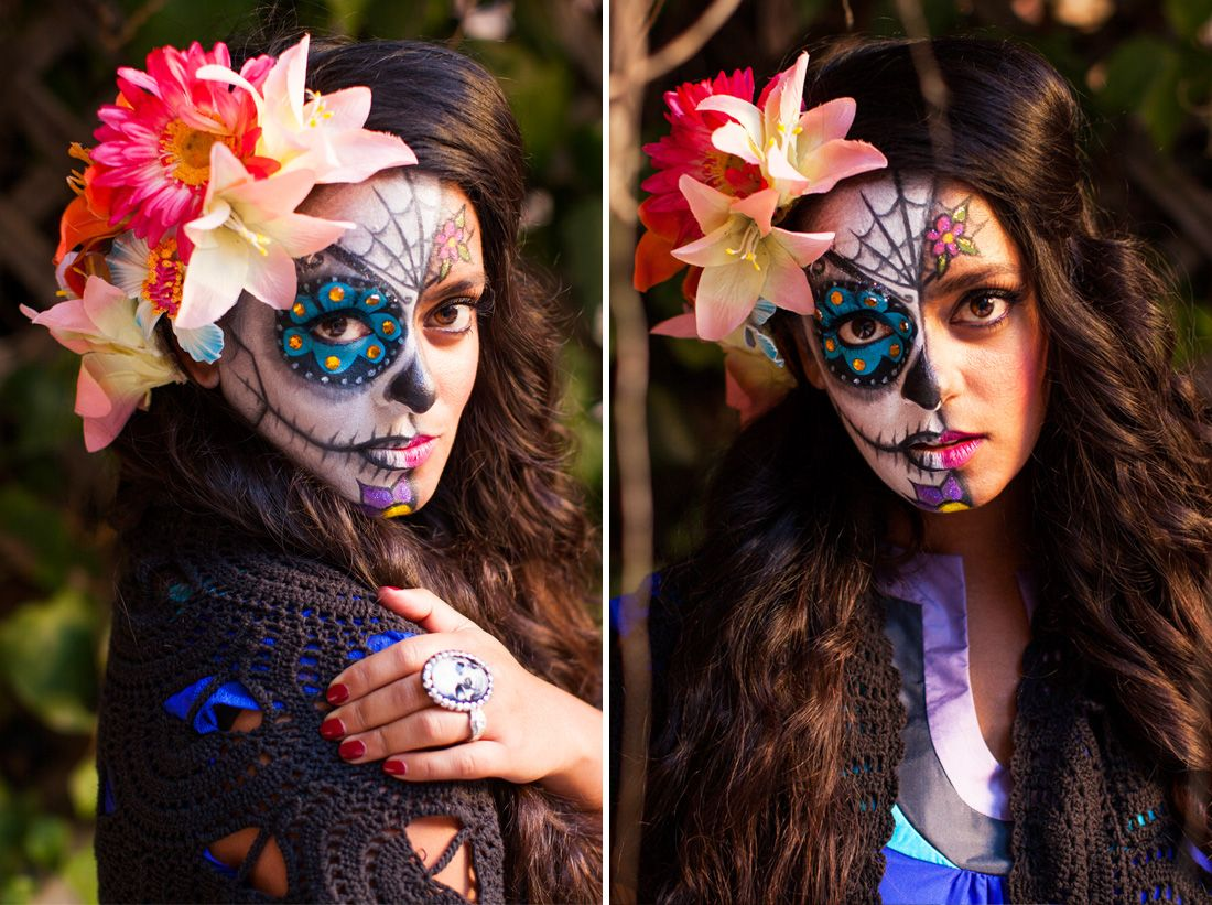 Follow this easy tutorial to paint a sugar skull on your face for Halloween.