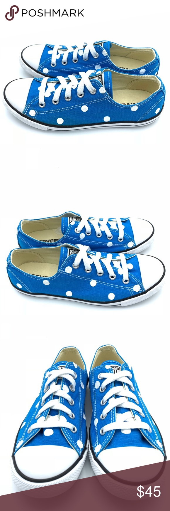 Converse Dainty 6 CLOISONNE BLUE Polka Dot CTAS Hand painted women s Converse  Dainty Chuck Taylor All df72ddd70
