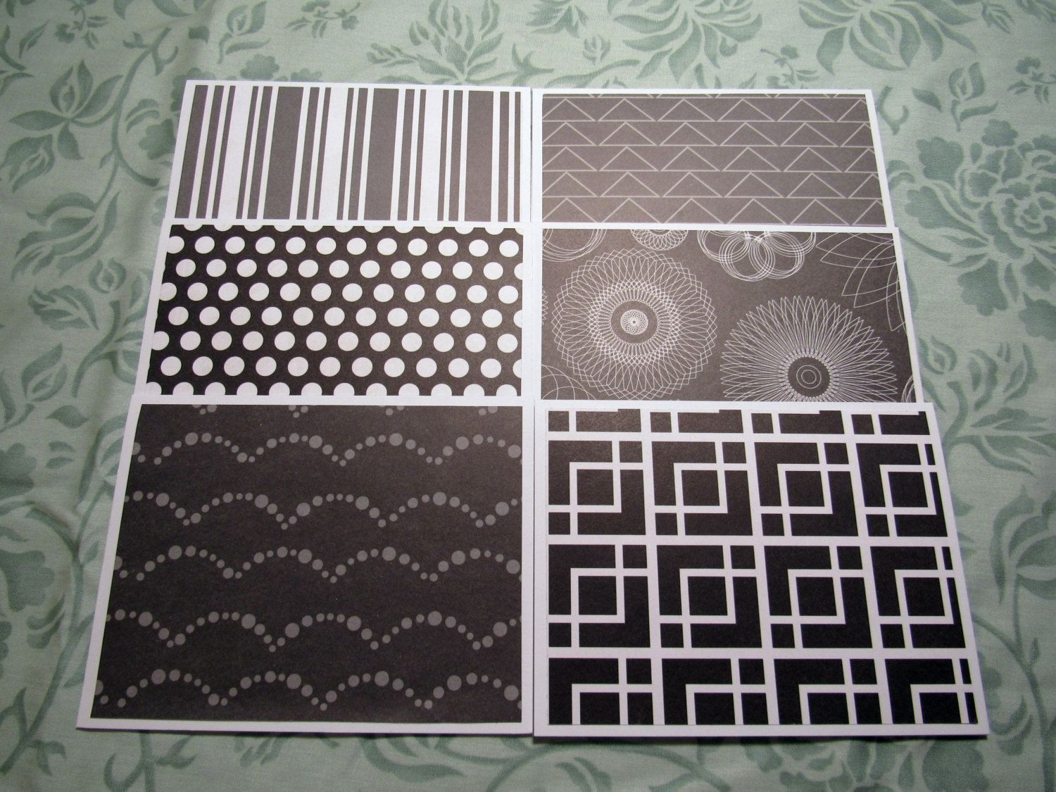 Black Grey Gray and White Handmade Note Cards Thank You Cards Set of 5 with Envelopes by WillowbendCottage on Etsy