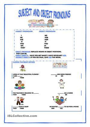 Subject And Object Pronouns Object Pronouns Pronoun Personal Pronouns Subject object pronoun worksheets
