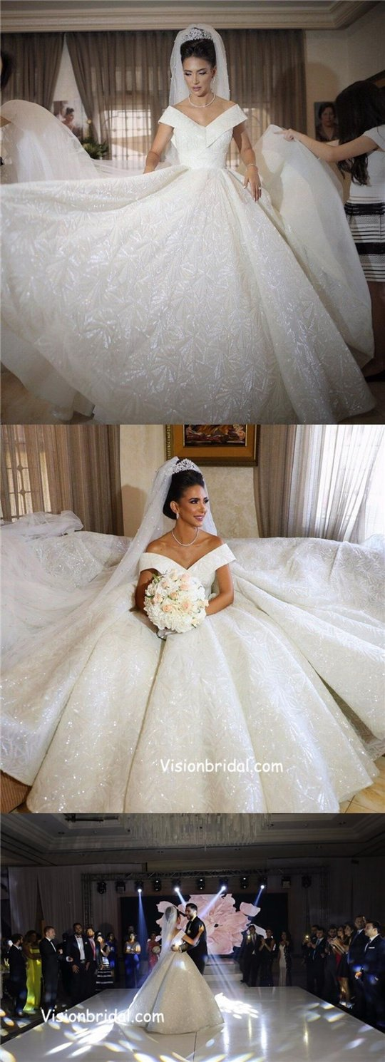 Wedding dresses sparkly  Gorgeous Off Shoulder VBack Long Real Made Free Custom Wedding Gown