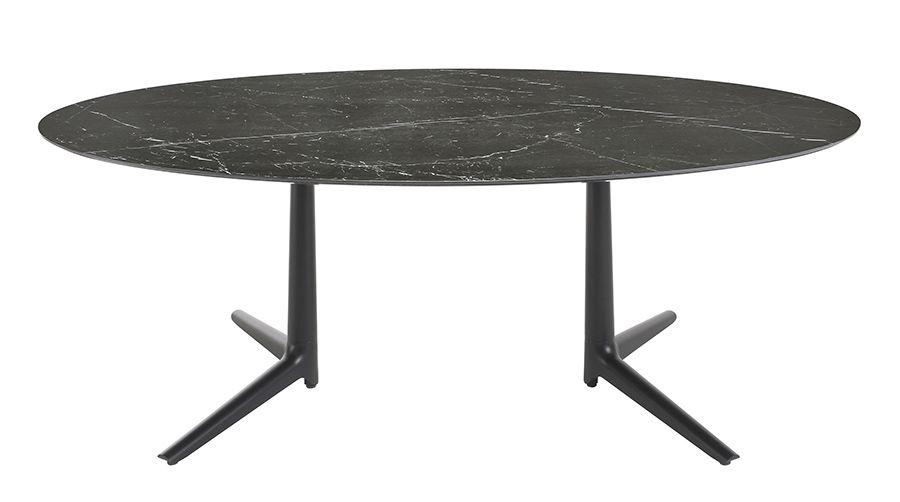 Kartell table multiplo avec plat ovale noir aluminium moulé et