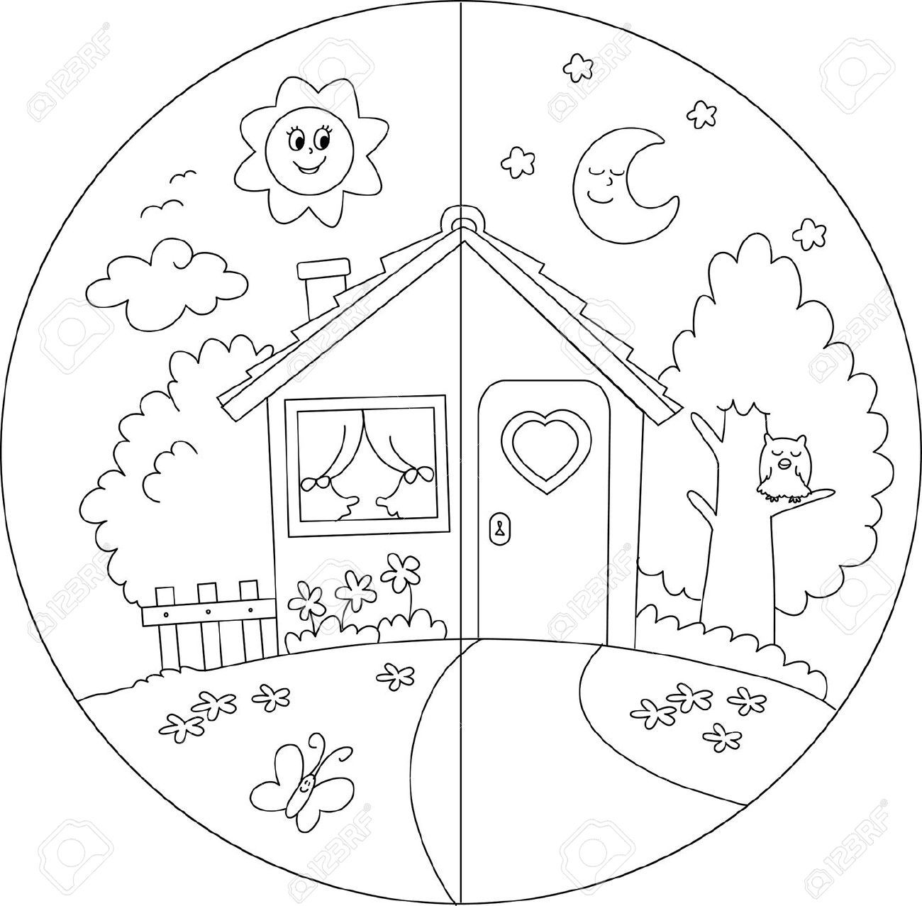 Childrens day colouring pages - Night And Day Colouring Sheets Google Search