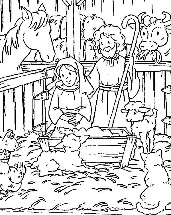 Baby Jesus Nativity Picture Coloring Page Stensil Sekolah