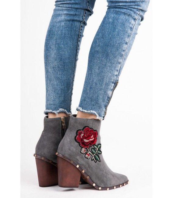 20f2518274 Členkové topánky s kvetinovou výšivkou 9133-5G